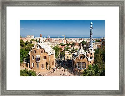 Barcelona Park Guell Antoni Gaudi Framed Print by Matthias Hauser