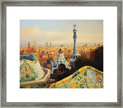Barcelona Park Guell Framed Print by Kiril Stanchev