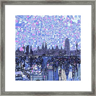 Barcelona Skyline Abstract 2 Framed Print