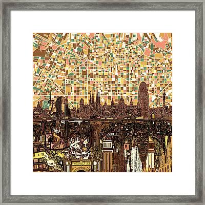 Barcelona Skyline Abstract 7 Framed Print
