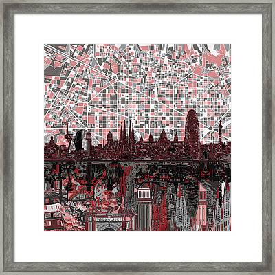 Barcelona Skyline Abstract 9 Framed Print