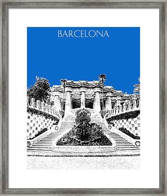 Barcelona Skyline Park Guell - Blue Framed Print by DB Artist