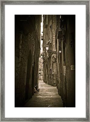 Barcelona Street Framed Print by Mesha Zelkovich