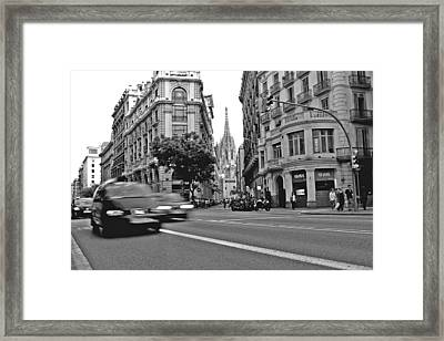 Barcelona Traffic Framed Print by Jon Cotroneo