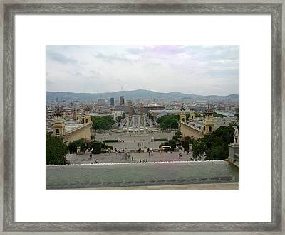 Barcelona-view From The Magical Fountain Framed Print by Shesh Tantry