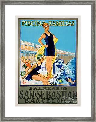 Barcelona Vintage Travel Poster Framed Print by Jon Neidert