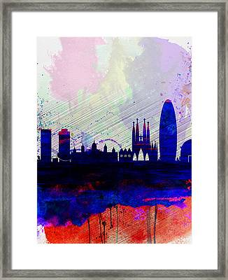 Barcelona Watercolor Skyline 2 Framed Print by Naxart Studio