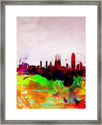 Barcelona Watercolor Skyline Framed Print