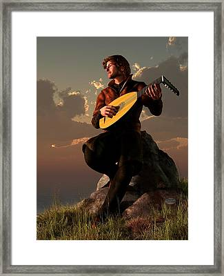 Bard With Lute Framed Print by Daniel Eskridge