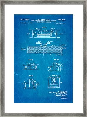 Bardeen Transistor Patent Art 1950 Blueprint Framed Print by Ian Monk