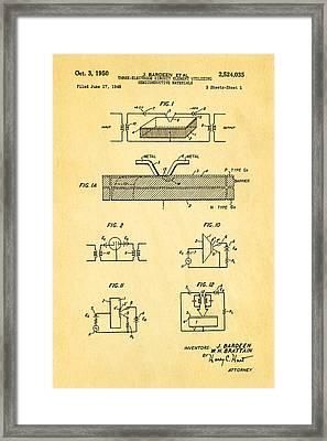 Bardeen Transistor Patent Art 1950 Framed Print