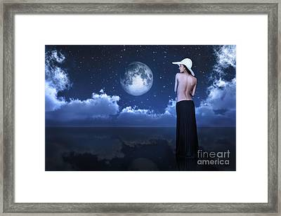 Bare Woman Looking At Moon Framed Print by Aleksey Tugolukov