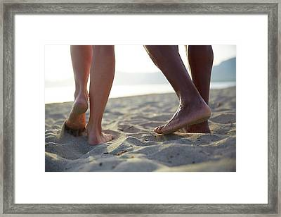 Barefoot Couple On Beach Framed Print by Ruth Jenkinson