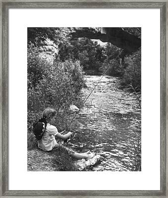 Barefoot Girl Fishing Framed Print by Underwood Archives