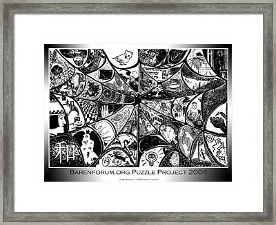 Barenforum Puzzle Woodcut 2004 Framed Print by Maria Arango Diener