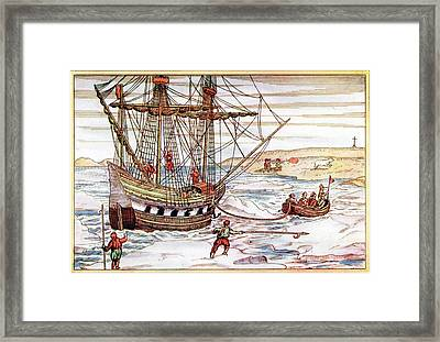 Barents' Ship Among The Arctic Ice Framed Print by Universal History Archive/uig