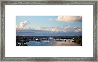 Barge Heads Up River Framed Print