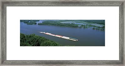 Barge In A River, Mississippi River Framed Print
