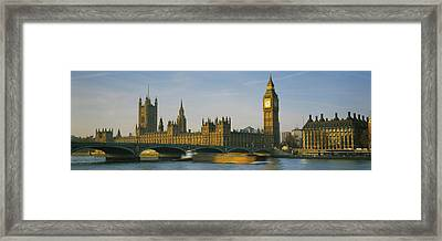 Barge In A River, Thames River, Big Framed Print by Panoramic Images