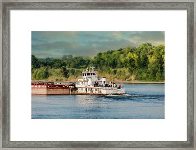 Barge On The River II - Water Scene Framed Print