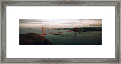 Barge Passing Under A Bridge, Golden Framed Print