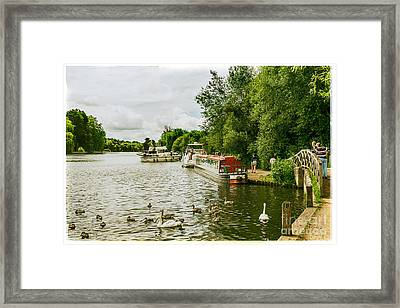 Barges And Boats On The River Thames Marlow Framed Print