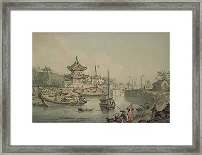Barges Of Lord Macartneys Embassy To China Framed Print by William Alexander