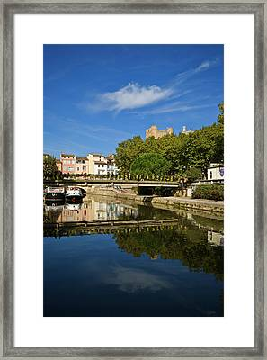 Barges On The Canal Du Midi As It Runs Framed Print by Panoramic Images