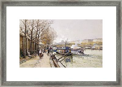 Barges On The Seine Framed Print