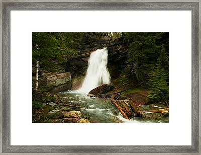 Baring Falls Glacier National Park Montana Framed Print by Jeff Swan