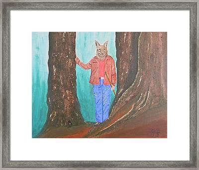 Barking Dog The Coyote Man Surveys The New Trail Framed Print by Gilbert Bernhardt
