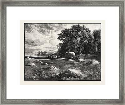 Barley Harvest, Canada Framed Print by Canadian School