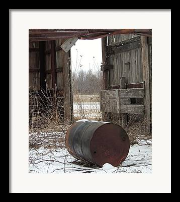Barn And Rusted Barrel Photographs Framed Prints