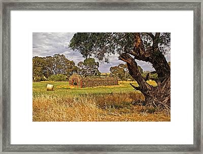 Barn And Bale In Hindmarsh Vale Framed Print by Tony Crehan