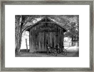Barn And Bikes Framed Print by Paulette Maffucci