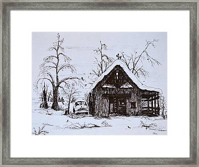 Barn And Car Framed Print by Jeannie Anderson