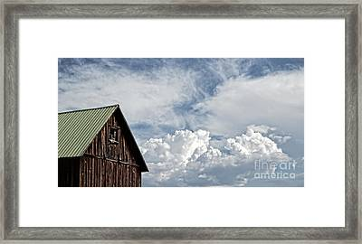Framed Print featuring the photograph Barn And Clouds by Joseph J Stevens