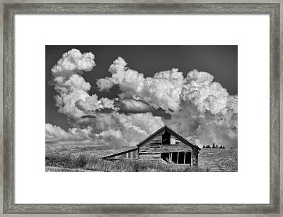 Barn And Clouds Framed Print