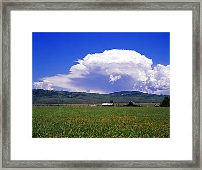 Barn And Clouds Summer Framed Print by Mike Norton