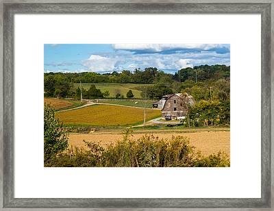 Barn And Farmland Framed Print by Douglas Barnett