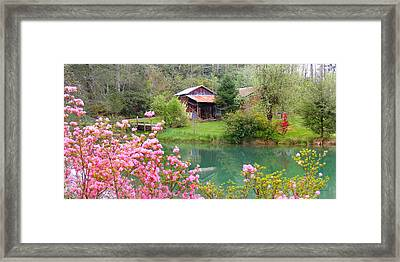 Barn And Flowers Near Pond Framed Print