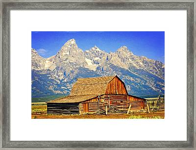 Barn And Mountains 2 Framed Print by Marty Koch
