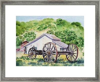 Barn And Old Wagon At Eugene O Neill Tao House Framed Print