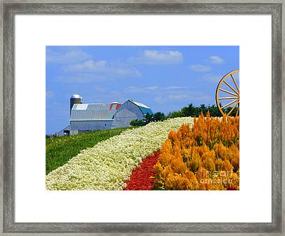 Barn And Quilt Garden Framed Print