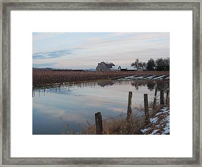 Barn And Reflection Framed Print by Karen Molenaar Terrell