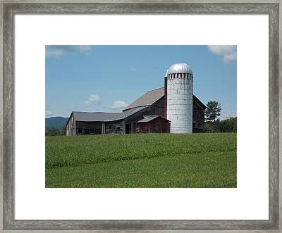 Barn And Silo In Vermont Framed Print