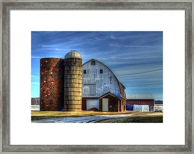 Barn And Silos Framed Print