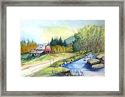 Framed Print featuring the painting Barn And Stream by Richard Benson