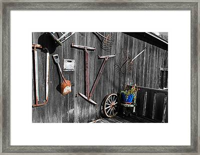 Barn Art No.3 - Color On Black And White Framed Print by Janice Adomeit
