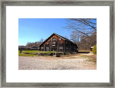 Barn At Billie Creek Village Framed Print by Thomas Sellberg